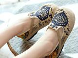 天购良品新款泰国麻布 布鞋潮民族花纹草编时尚一件批发帆布鞋 女