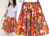 时尚休闲装 韩版加大码波西米亚款亚麻半身裙沙滩印花裙短裙088