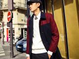 2014冬装新款欧美大牌街拍潮流男士中长款拼色呢大衣风衣外套批发