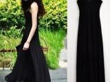 欧美黑色吊带蕾丝花边领 长款连衣裙