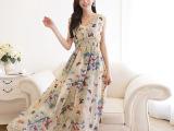 模特实拍 2014新款 雪纺鱼丝线 开叉 拖地长裙 深V连衣裙