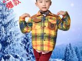 厂家直销 2015新款男童防寒保暖格子纯正白鸭绒 内胆儿童羽绒服