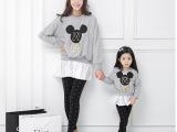 韩版亲子装 秋装母女装雪纺裙摆米老鼠印花长袖纯棉T恤 一件代发