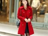 2013新款韩版女装秋装修身OL气质双排扣立领毛呢外套呢子大衣3