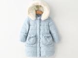 2014年冬季新款童装女童连帽中长款棉衣3.8外贸童装批发