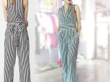 2015春季新款欧洲站 品牌原单条纹 连体裤外贸高端女装批发
