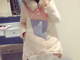 6度欧美2014冬装新款气质百搭呢料拼接长款A型保暖羽绒衣 E1