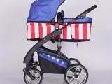 婴儿手推车童车婴儿推车双向避震可躺可折叠可躺睡蓝包边外露