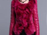 2014年秋冬新款  狐狸毛短款真皮绵羊皮拼接羽绒服皮套外套 批