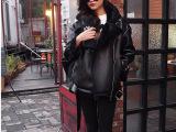 韩版明星同款黑色拉链羊皮加绒翻领皮衣时尚机车外套 女
