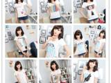 便宜服装地滩货源 韩版女装 短袖女式上衣圆领印花t恤 库存T恤女