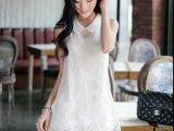 2015韩版女白色蕾丝 绣花雪纺连衣裙 娃娃领无袖A字背心裙