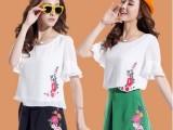 夏季民族风大码女装两件套裙子 刺绣 雪纺短袖 套装连衣裙
