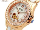 爱诺时正品女士手表时尚陶瓷手表女款镂空自动机械表镶钻防水女表