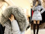 冬季i韩国代购韩版女棉衣中长款大毛领加厚冬季外套羽绒棉服棉袄