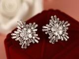 韩版流行 微镶满钻锆石宝石银色大雪花女耳钉 闪耀精致高品质饰品