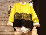 韩国东大门日系秋装女毛线圆领套头毛衣女长袖针织毛衣兔毛毛衣女