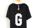 T0779 2014春夏新款韩版女装短袖T恤 时尚字母V领女式T