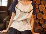 2014日系小清新学院风卡通猫咪插肩袖拼色全棉女士短袖t恤夏99
