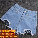 杭州四季青服装市场有夏季新款热销韩版破洞毛边三分牛仔短裤批发