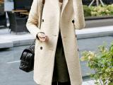 新款韩版女装修身双排扣中长款羊毛呢外套 毛呢大衣女厂家批发
