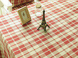 新品zakka风格 纯亚麻色织格子 红色布艺台布 桌布/餐桌布