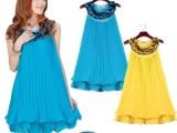 夏季韩版褶皱荷叶边女雪纺裙 新款无袖宽松雪纺连衣裙