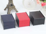 黑色经典礼品展示盒 皮纹理皮面饰品包装盒 手表包装盒 厂家批发