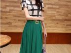 2014夏装 韩版黑白格子雪纺衫+绿色半身裙两件套装裙子 微信代理