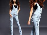代理加盟 实拍2015春夏新款韩版高腰女式牛仔裤背带裤连体裤99