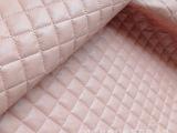 新款女装pu皮衣面料 仿羊皮 菱形绗缝 含棉服装料 羽绒主料