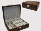 棕色高档PU皮革6位手表盒 6格手表盒 手表饰品收纳盒珠宝手表盒