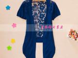 2014韩国女装夏季新款女式中长款短袖蕾丝镂空钩花针织开衫薄款
