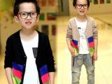 热销款 韩版男童装秋款 男中大童纯棉毛线开衫 外贸儿童毛衣批发