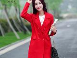 1876 2015秋装新款女装纯色西装领单排扣双口袋中长款大衣风