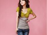 2013年春夏新款 日韩女装 配色拼接三粒扣短袖棉质上衣