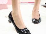 14春秋新款欧美外贸原单 粗跟搭扣牛皮时尚真皮女鞋中跟品牌单鞋