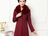 2014秋冬装新款韩版修身羊毛大衣 女中长款翻领羊毛大码女装