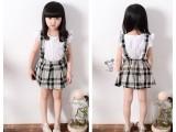 2015夏季新款 花花公主韩版童装 女童格子背带裙中小童短裙裙子