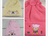 秋冬新生儿0-1岁帽子特价加厚婴儿帽子儿童加绒帽子原单外贸
