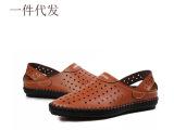 厂家直销新款男士洞洞鞋 男真皮凉鞋透气鞋子男士单鞋沙滩鞋