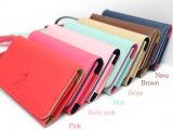 韩版手机包 韩国新款包盖式可爱 女士手机包 十字纹钱包卡包