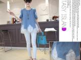 2014新款韩版欧根纱镶钻蕾丝假两件圆领套头女牛仔衬衫