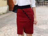 2015新款半身裙千鸟格一步裙 弹力大码短包裙臀裙女 秋季针织短