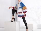 皮草服装、2015新款貉子毛编织外套、彩色毛皮女装