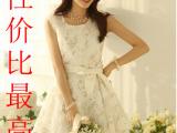 2014春夏季新款 韩版修身无袖背心淑女百搭白色蕾丝连衣裙