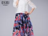 欧洲站2015年夏季新款七分袖连衣裙 两件套女士雪纺中裙大摆批发