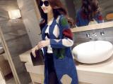 胖MM大码毛衣外套女秋冬新款韩版彩色中长款宽松风衣针织开衫女装