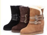 2013新款羊皮毛一体隐形坡跟内增高雪地靴关颖同款真皮中筒女靴子