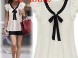 2014白色雪纺短袖上衣 短袖雪纺衫纯色通勤女 雪纺衫新品系带上